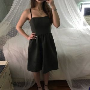 David's Bridal Dark Green Strapless Dress